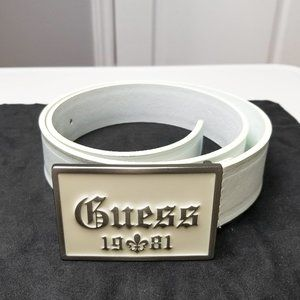 GUESS Genuine Leather Belt - Off-White - Size 30